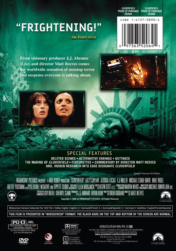 Meyemindcom Cloverfield Dvd Cover Artwork